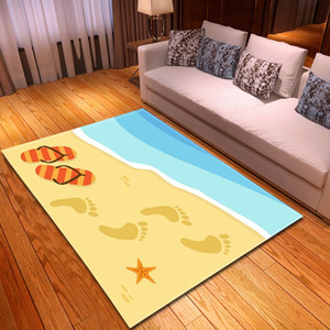 6mm 3D Beach footprint pattern carpets for Living Room Bedroom Rectangle Home Decor rug Coffee Table Mat Bath Absorb Water Rugs