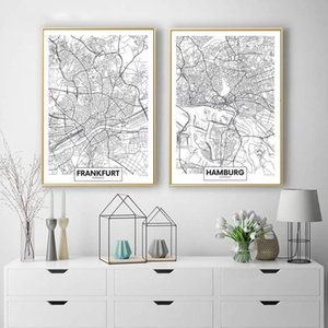 Black And White Germany Frankfurt Hamburg World Map Canvas Painting Poster And Prints Wall Pictures For Living Room Home Decor