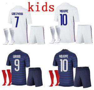 enfants 2 étoiles maillot de football France MBAPPE Griezmann KANTE Maillot de pied Pogba EURO 20-21 kits enfants mis maillots de football uniforme