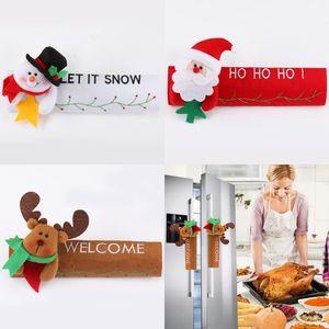 Natal Frigorífico Handle Luvas Capa de Santa Elk porta boneco de neve Frigorífico Forno Proteção Tampa Xmas Kitchen Decor DWB1061