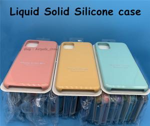 DHL 실리콘 케이스 공식 액체 고체 실리콘 젤 고무 충격 방지 전화 케이스 커버를 들어 애플의 아이폰 (12) XS 최대 XR 8Plus와 소매 상자