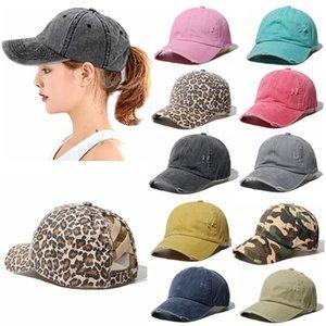 10colors Yıkanmış At Kuyruğu Beyzbol şapkası Vintage Criss Çapraz Topu Şapka Pamuk Trucker Caps Sonbahar Kış Kadın Beanie HHA1604
