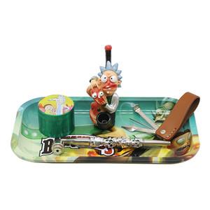 대형 담배 롤 트레이 플레이트 만화 스타일 금속 주석 액세서리 DHD1454 흡연 트레이 저장 플레이트 컨테이너 봉사