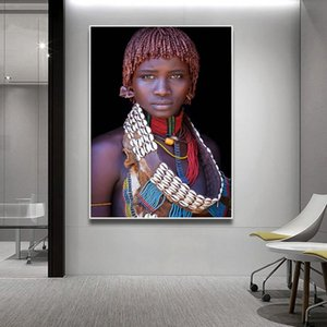 2019 Best Seller Black African Woman Oil Painting On Canvas Posters And Prints Scandinavian Wall Art Picture For Living Room