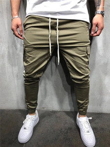 Sweatpants For Men Mens Casual Sports Fittness Pants Solid Color Patchwork Slim Man Pencil Pants With Pocket Cargo