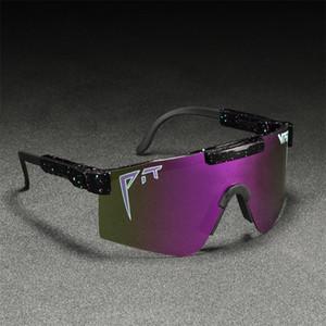 Şık Erkekler Büyük Boy TR90 Polarize Pit Viper Güneş UV400 Ayarlanabilir Shield Gafas de sol Tek parça Mercek Çok Renkli