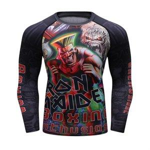 Comprion Skin Tight de los nuevos hombres del zombi UFC camiseta de manga larga de BJJ MMA 3D imprime Rash Guard Fitn Base de Capa Superior Masculina desgaste
