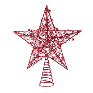 1PC Iron Star Tree Topper Glitter Star Christmas Holiday Tree Topper 5 Point Festival Treetop Decor for Home Party (Red)