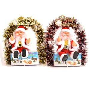 Electric Swing Flower Santa Merry Christmas Baby Gift Santa Claus LED Lighted Flower Wreath Swing Doll Kids Xmas Present AAB1107