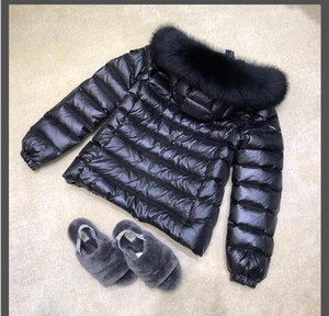 Женщины черный вниз пальто Euorpe Толстые 100% Real Fox Fur Hooded утка вниз теплая мягкая зима пуховик Размер 1234