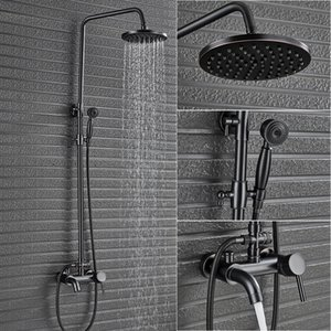 Single Lever Bath Shower Complete set Faucet In Wall 8Rainfall Bathroom Faucet Black Brass with Handshower and Tub Spout