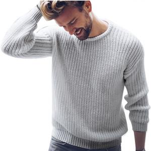 DIHOPE Hombres O ocasional sólida cuello delgado suéter suéter nuevo resorte del estilo coreano suéteres ocasionales adelgazan más el tamaño del puente de punto masculino