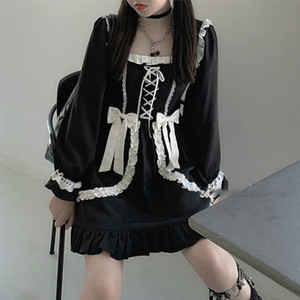 Japanese Lolita Gothic Dress Girl Patchwork Vintage Designer Mini Dress Japan Style Kawaii Clothes Fall Dresses for Women 2020 C200919