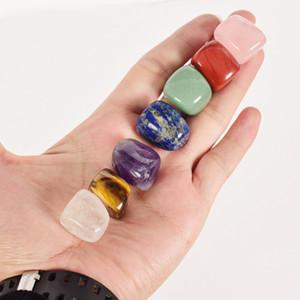 Натуральный Crystal Chakra Stone 7 шт. Установить натуральные камни Palm Reiki Election Crystals Gemstones Home Украшения аксессуары DHE642