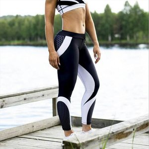 3D Print Sripes Leggings Fitness Mesh Legging Women Sporting Workout Leggins Jogging Elastic Slim Black White Pants N