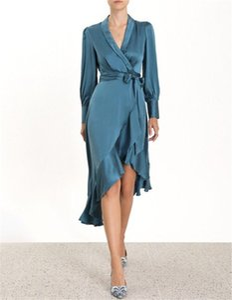 Popular logo elegant cross V neck irregular flounced skirt with bow tie and long sleeve dress