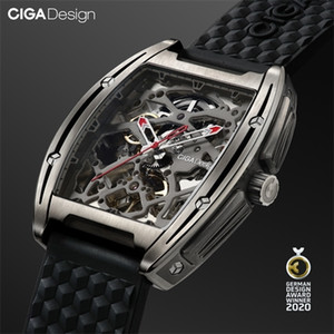 CIGA DESIGN Watch Titanium Case Automatic Mechanical Wristwatch Silicone Timepiece (With One Leather Strap For Free) 0925