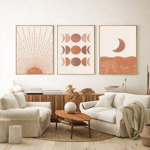 Cópia do século meados de Arte Moderna Moon Phase lona Poster Abstract Sun Pintura Neutral Posters geométrica Imagem Boho decoração da parede