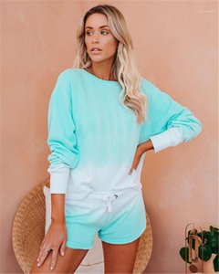 Clothing 2 Piece Leisure Bandage Womens Clothing Gradient Womens Designer Tracksuits Loose Long Sleeve Shorts Womens