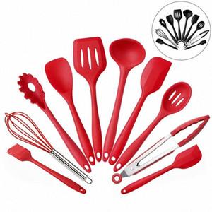 10pcs Set Silicone Kitchen Utensils Set Kitchen Not Sticky Pot Heat Resistant Spoon Shovel Ladle Spatula Cooking Tool HH7-1018 1Ww6#