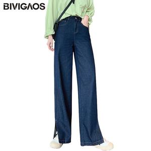 BIVIGAOS otoño de 2020 nuevas mujeres pierna ancha pantalones vaqueros de perneras de los pantalones lateral de Split Drape dril de algodón pantalones casuales pantalones vaqueros del novio