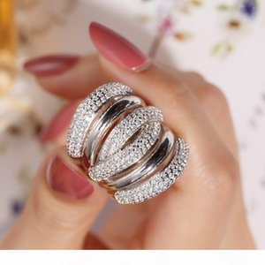 Big silver Cocktail Finger RING for women Gold Plated 238pcs Simulated diamond painting full stone Ring Jewelry size 5-10
