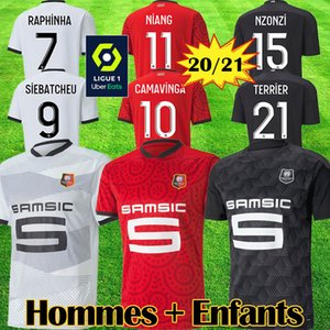 maillots ستاد رين BOURIGEAUD دي القدم 2020 21 رين FC RAPHINHA لكرة القدم جيرسي NIANG HUNOU CAMAVINGA GRENIER الرجال الاطفال كرة القدم قميص