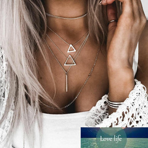 Boho Silver Color Triangle Pendant Necklace for Women Girl Chains Multilayered Necklace Statement Jewelry Collar