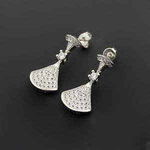 Hot Sale 316L titanium steel Classic B letter full diamond skirt couple earrings Fan shaped full diamond ladies earrings gift jewelry