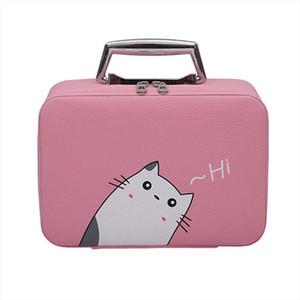 Portable Leather Makeup Bag Trunk Shaped Cosmetic Bag Mini Make Up Case Zipper Storage Travel Bags mulheres maquiagem 9 18