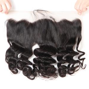 Curly Schweizer Spitze Frontal Verschluss Ohr zu Ohr 13x4 Raw Virgin Indian Curly Menschenhaar-volle-Stirn Closure Natürlicher Haarstrich