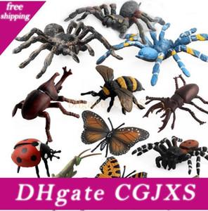 12pcs / Set Simülasyon Hayvan Böcekler Arı Web Örümcek Kelebek Gergedan Beetle Ladybug Çekirgeler Modeli Çocuk Oyuncak Hediye Şekil
