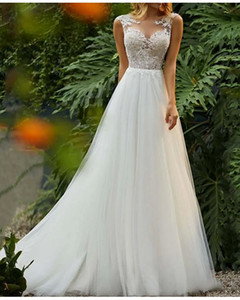 A-Line Wedding Dresses Jewel Neck Sweep   Brush Train Tulle Regular Straps Romantic Boho Backless with Lace Insert