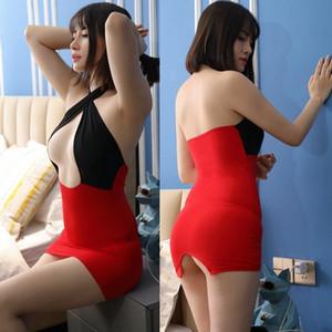 rgWun Jin souple 180901 poitrine sous-vêtements sexy libre transparentes Pantalon ouvertes Ktv mini-jupe collants discothèque jupe KTV Tight