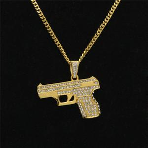 Marca zircone Collane con Hip collana pistola Ciondolo alta Uomini Via s' Hop della collana di stile per gli uomini