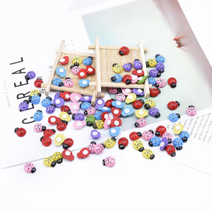 50pcs Artificial plants Ladybug kids toys pompons home decoration bridal accessories clearance Fridge sticker household products C0924
