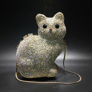 Kitten Rhinestone Bag With Holes Metal Crystal Evening Bag Handmade Diamond Set Womens Handbag Black Leather Handbag sETw#
