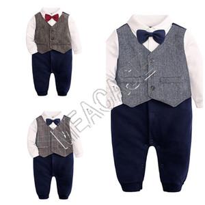 Newborn neonati pagliaccetto Papillon Gentleman manica lunga tuta pagliaccetto ins Brithday del bambino scherza i vestiti degli smoking Bowtie Camicia Outfits D81204