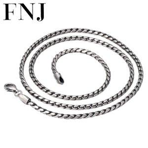 FNJ 2 millimetri corda collane della catena 925 45 centimetri per 75 centimetri di moda originale Collana Uomini S925 Thai Argento donne per fare gioielli