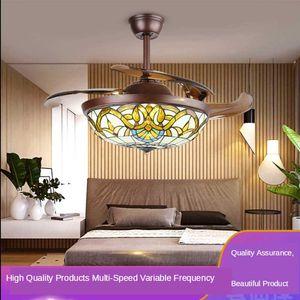 110V   220V Modern Ceiling Fan Light Tiffany Light Luxury Crystal Led Ceiling Fan Lighting Fans with Lights