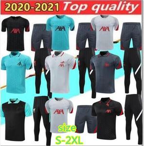 2020 Kit de survêtement liverpool polo 20/21 chemises et pantalon long noir rouge gris blanc maillot de football qualité Size S-2XL