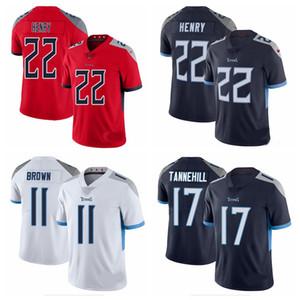 2020 yeni Erkekler TennesseeTitanlarjersey 22 Derrick Henry 17 Ryan Tannehill 31 Kevin Byard 11 AJ Brown Amerikan futbolu formaları 20090
