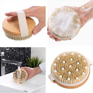 Bath Shower Bristle Brushes Exfoliating Body Massage Brush with Band Dry Skin Wooden Shower Body Bath Brush Tools