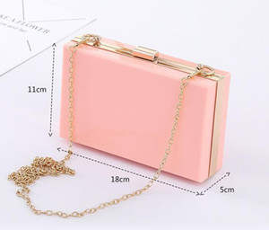 New-bag bling Chain Box Bag clear crossbody bags clutch for women