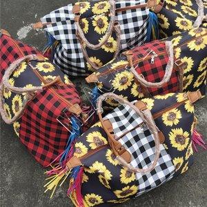 Les femmes de tournesol Plaid Grand sac fourre-tout Patchwork Sac à damiers poignée Vintage Sac à bandoulière Voyage Duffle Weekender Sac D81904