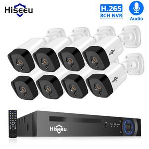 نظام الأمن H.265 الصوت 8CH 1080P POE NVR CCTV 4PCS 2MP سجل POE كاميرا IP IR في الهواء الطلق فيديو المراقبة كيت 1TB HDD