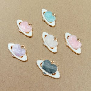10pcs lot 13x21mm Heart Enamel Satellite Charm Oil Drop Pendant Charms Gold Color Tone Metal DIY Bracelet Necklace Accessories
