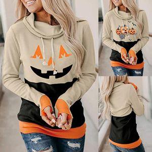 Women's Sweatshirt Halloween Pumpkin Head Printing Long-sleeved Hiking Casual Polyeste Comfortable Blouse Pullover