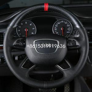 Mão costura de couro Top Carbon Fiber Car cobertura de volante Para Audi A6 Q5 Q7