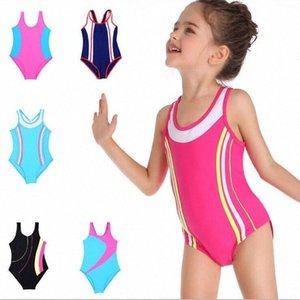 Trajes niños traje de baño profesional de las muchachas del traje de baño del tren de carreras trajes de surf rayas nadada del deporte Una Pieza Bikini mamelucos de baño ropa de playa B vKs4 #